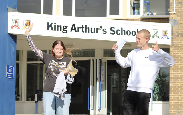 King Arthur's School students celebrating their 2020 GCSE grades