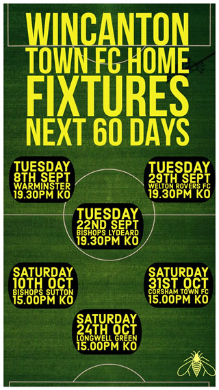 Wincanton Town FC home fixtures for September and October 2020
