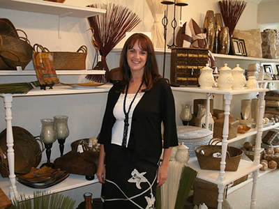 Anna Cuff in her shop, Elegant Homes