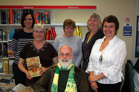 Emma, Sue, Rosemary, Judith and Jackie with Terry Pratchet