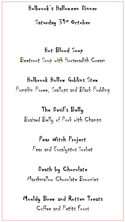 Holbrook House Haloween Menu