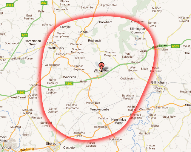 A map showing a radius of the area covered by the Wincanton Window